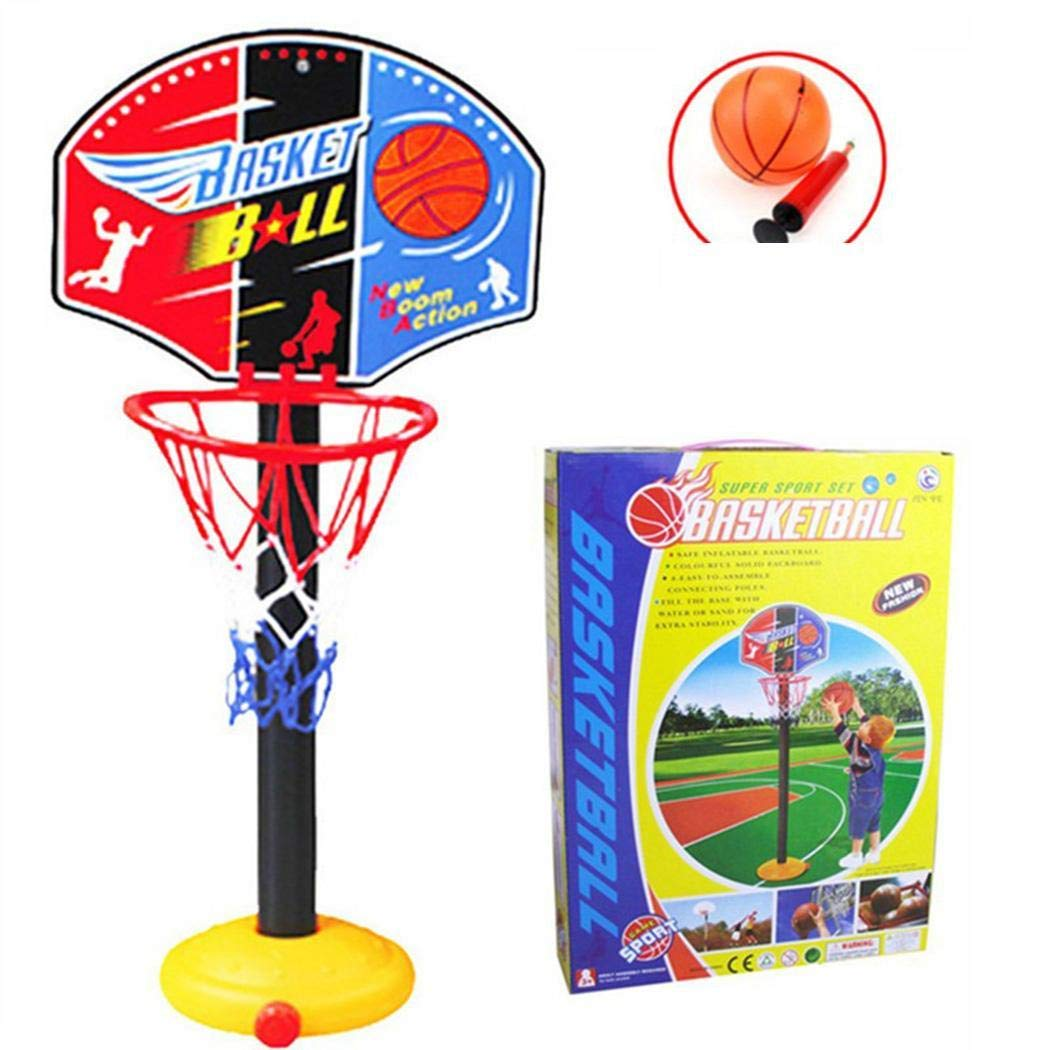 Oguine Portable Indoor Outdoor Kids Adjustable Height Basketball Stand Toy S Toy Basketball