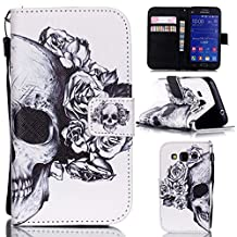 Galaxy Core Prime Case,Gift_Source [Skull Flowers] Colorful Cute PU Leather Wallet Leather Case Built-in Card Slots Flip Cover with Hand Strap for Samsung Galaxy Core Prime G360 G3608/Prevail LTE