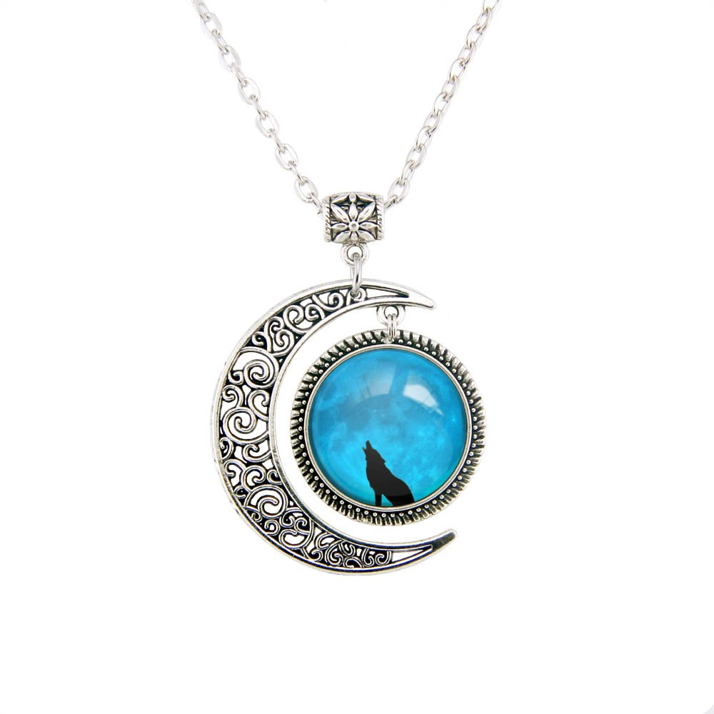 Beautiful Season DIY Charm Crescent Necklace Full Blue Moon Wolf Pendant Necklace Wolf Jewelry Wolf Under Full Moon Necklaces Blue