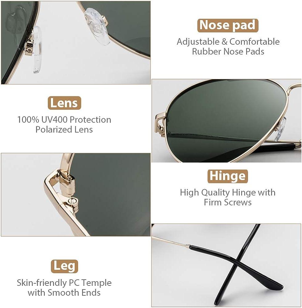 Gafas Polarizadas Hombre Verde de Moda de Estilo Espejo UV400 Cuadrada Marco Inoxidable Lente TAC PL Super C/ómoda Avoalre Gafas de Sol Aviador