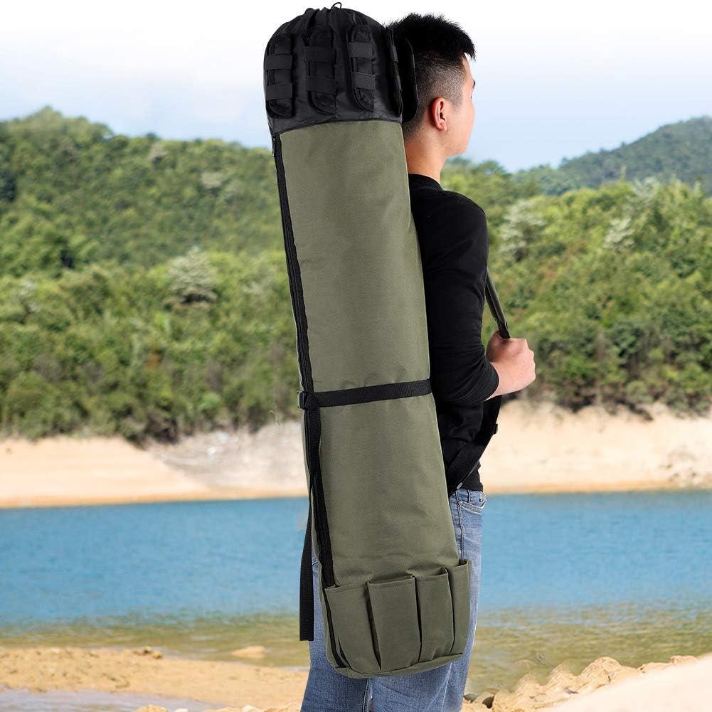 Cocoarm Fishing Bag,Fishing Storage Bag,Outdoor Fishing Rod Pole Reel Lures Box Tackle Storage Bag Adjustable Shoulder Strap Green
