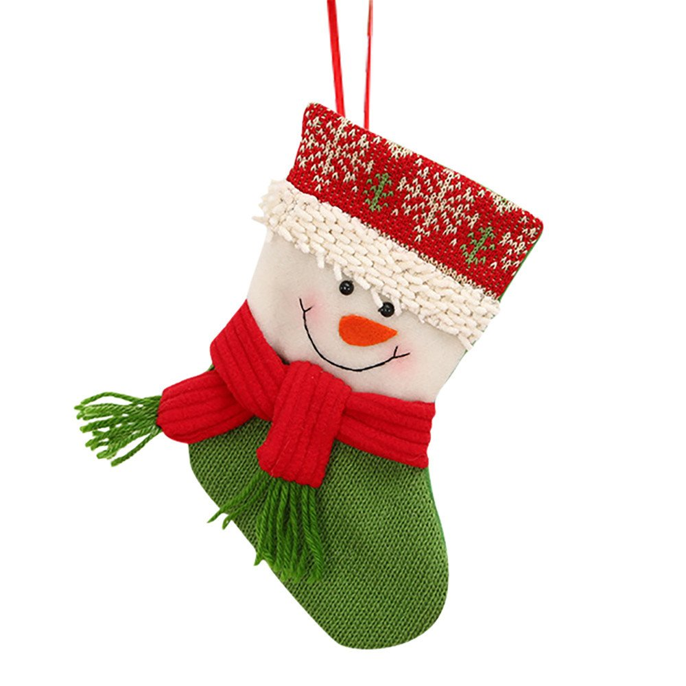 Joopee Christmas Candy Beads Gifts Santa Snowman Flannelette Knitted Socks Xmas Tree Decor(Multicolour A)