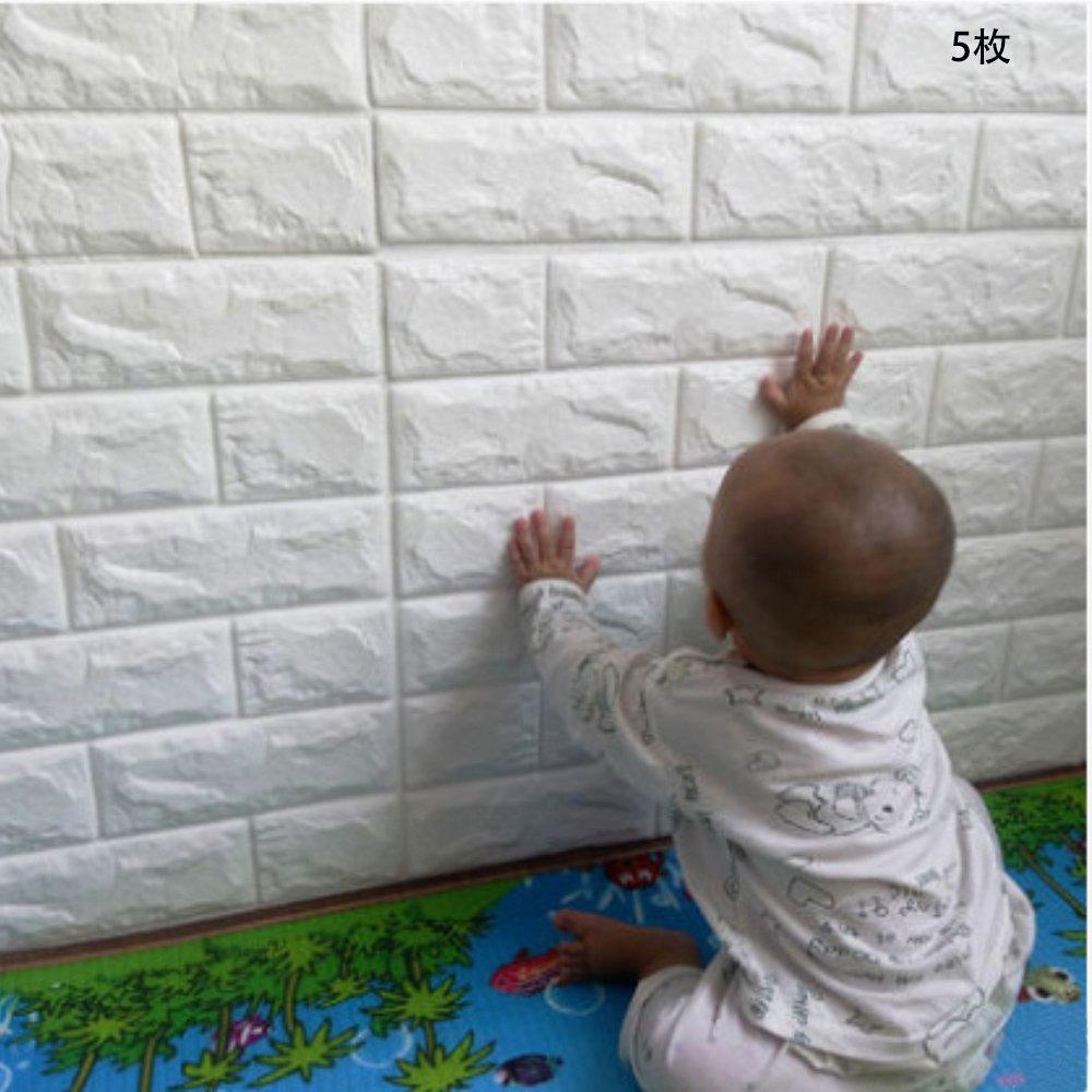 3D 壁紙 レンガ調 DIYクッション シール シート【壁紙5枚セット】 立体 壁用 レンガ 貼るだけ 壁材 ブリック ホワイトレン 発泡スチロール リアル風 レンガ 白 壁用 タイル 60cm*60cm (5, 白) B07B3NZ1YJ 白|5 白