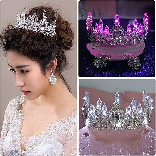 Illuminated Column (Generic crown tiara tiara bride headdress Korean crystal column illuminated large queen Wang Guan earring suit dress with jewelry)