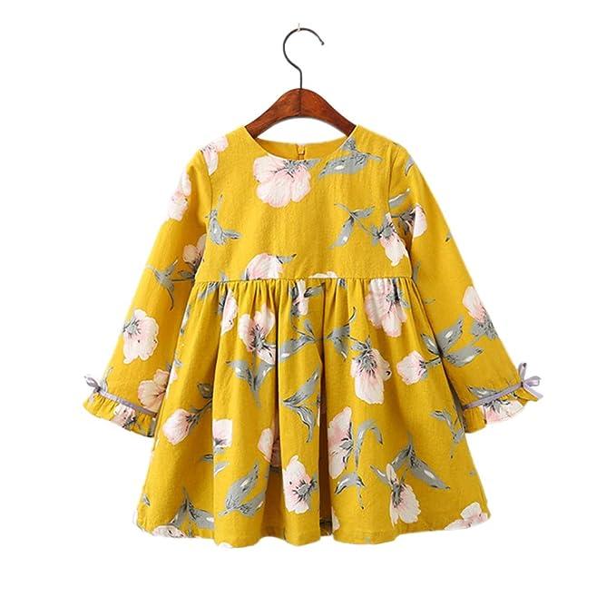 Niña Vestidos, Lananas Chicas Redondo Collar Floral Impresión Algodón Bowknot Decoración Manga Larga Vestir Girls Dresses: Amazon.es: Ropa y accesorios