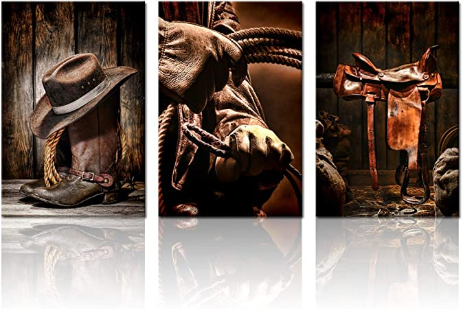 Biuteawal 3 Pieces Canvas Prints American West Rodeo Cowboy Wall Art Painting Brown Straw Hat On Leather Rancher Roper Boots Picture On Canvas Vintage Artwork Stretched For Home Office Decoration
