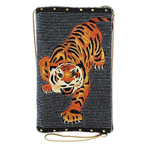 - MARY FRANCES Fierce Beaded-Embroidered Tiger Crossbody Phone Bag