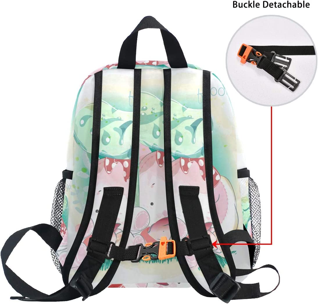 Pink Watercolor Elephant Toddler Backpack Bookbag Mini Shoulder Bag for 1-6 Years Travel Boys Girls Kids with Chest Strap Clip Whistle