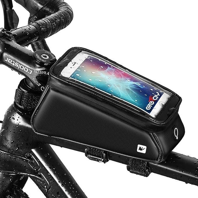 Grefay Bolsa Marco Bicicleta Impermeable Bolso Manillar Bicicleta Soporte Teléfono Bici Tubo Superior Bolso con Pantalla Táctil TPU debajo Teléfonos Inteligentes de 6 pulgadas: Amazon.es: Deportes y aire libre