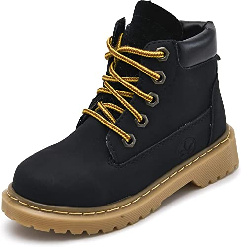 Kids Boys Girls Snow Martin Boots Lace-up Winter Ankle Boots Waterproof Shoes Non-Slip Flat Walking Hiking Shoes