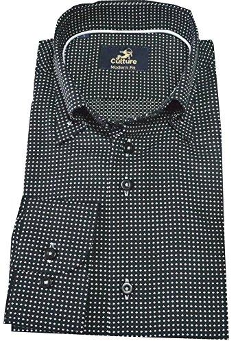 Culture Designerhemd langarm in schwarz mit weißen Punkten