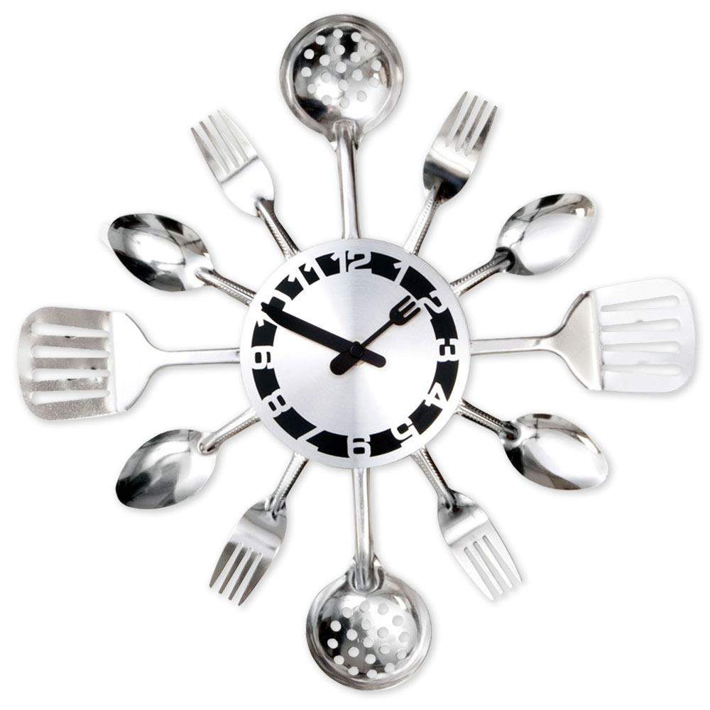 Bits and Pieces - Contemporary Kitchen Utensil Clock-Silver-Toned Forks, Spoons, Spatulas Wall Clock - Kitchen Décor, Unique Fun Gift