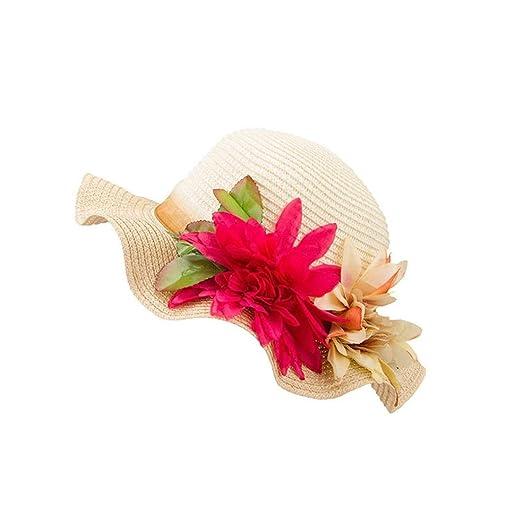 Vertily Hat Girls Summer Wide Brim Straw Beach Flower Visor Panama Triby  Cap (Beige) a6478f4dd20