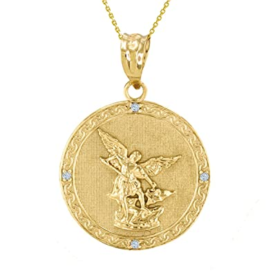 Amazon 14k gold saint michael the archangel diamond medal 14k gold saint michael the archangel diamond medal necklace 114quot mozeypictures Image collections