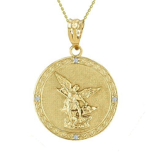 """14k Gold Saint Michael The Archangel Diamond Medal Necklace (1.14"""")"""