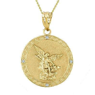 Amazon Com 14k Gold Saint Michael The Archangel Diamond Medal