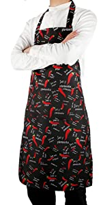Flying Frog Bib Apron with Pockets for Men and Women - Chili Pepper Apron - Easy to Wear