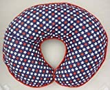 Nursing Pillow Slipcover Patriotic Blue with Red and White Stars Baby Boy or Girl Handmade