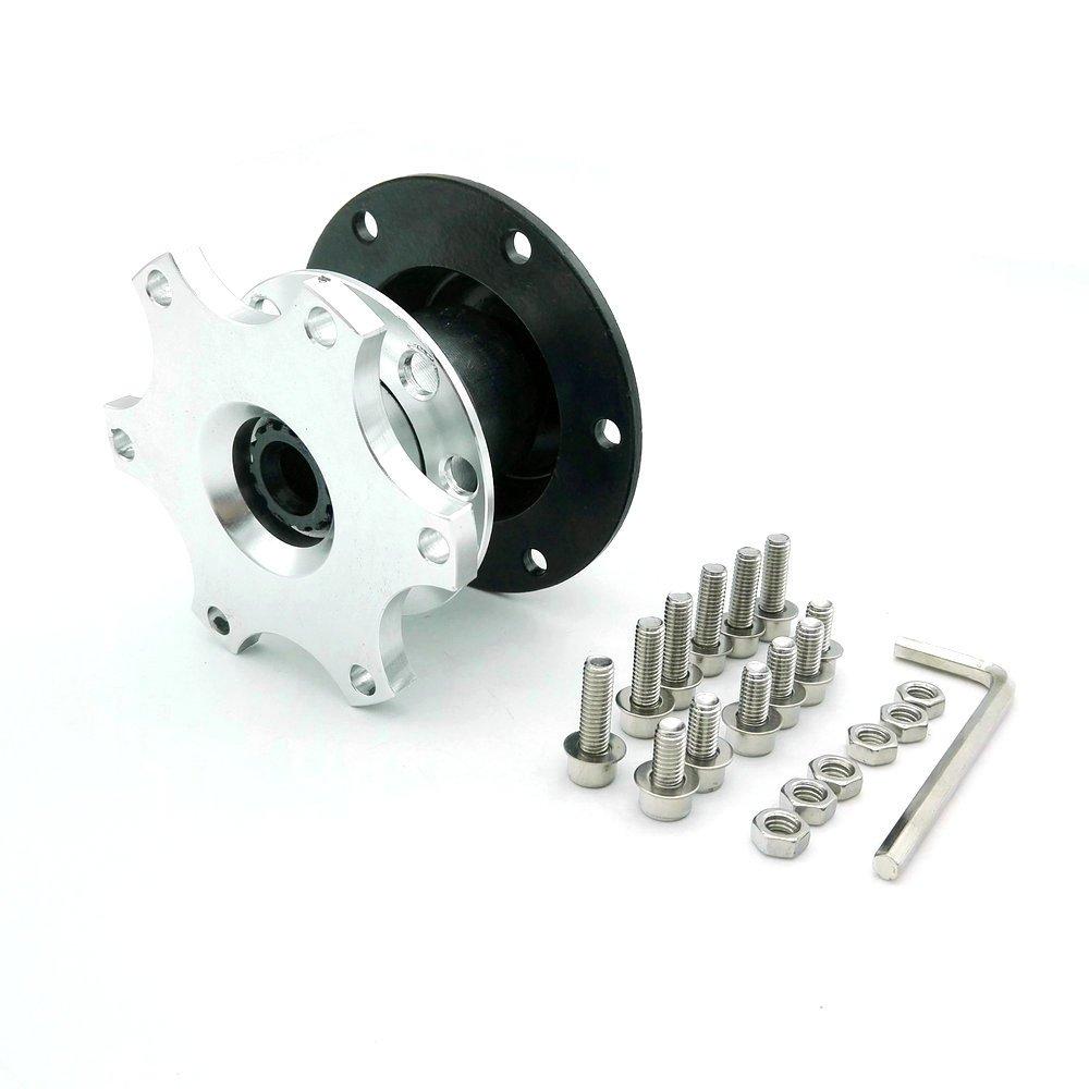 Heinmo Car Universal Steering Wheel Quick Release HUB Adapter Snap Off Boss Kit(Silver)