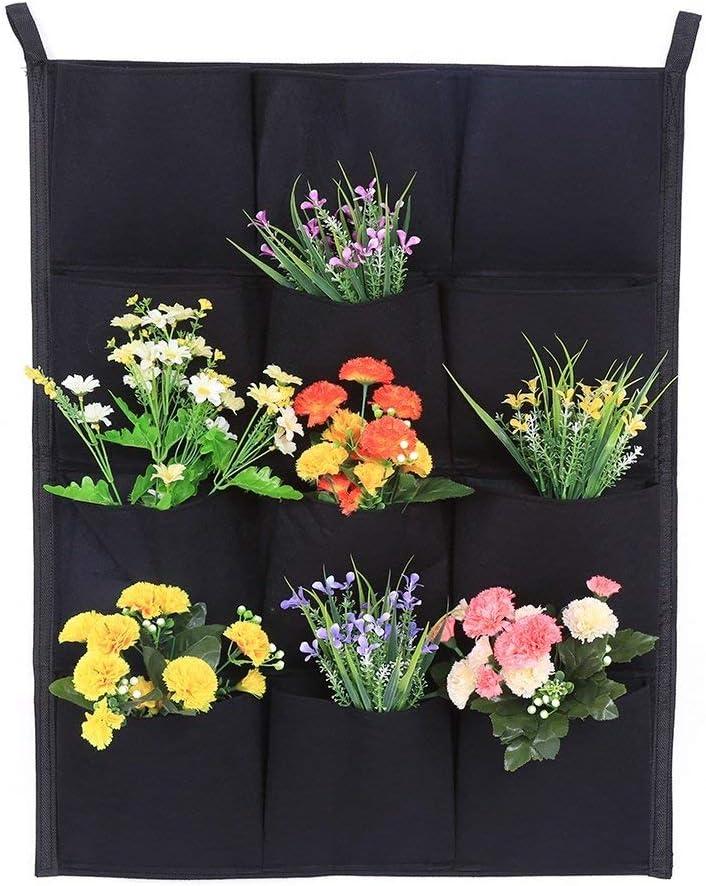 Jardinera vertical para plantas y semilleros con 7/12/16/18compartimentos, uso en interior y exterior, color negro 12-Pocket