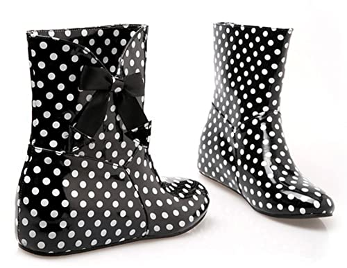 Retro Boots, Granny Boots, 70s Boots Aisun Womens Cute Antiskid Polka Dots Round Toe Dress Flat Slip On Booties Short Rain Boots With Bows $28.97 AT vintagedancer.com