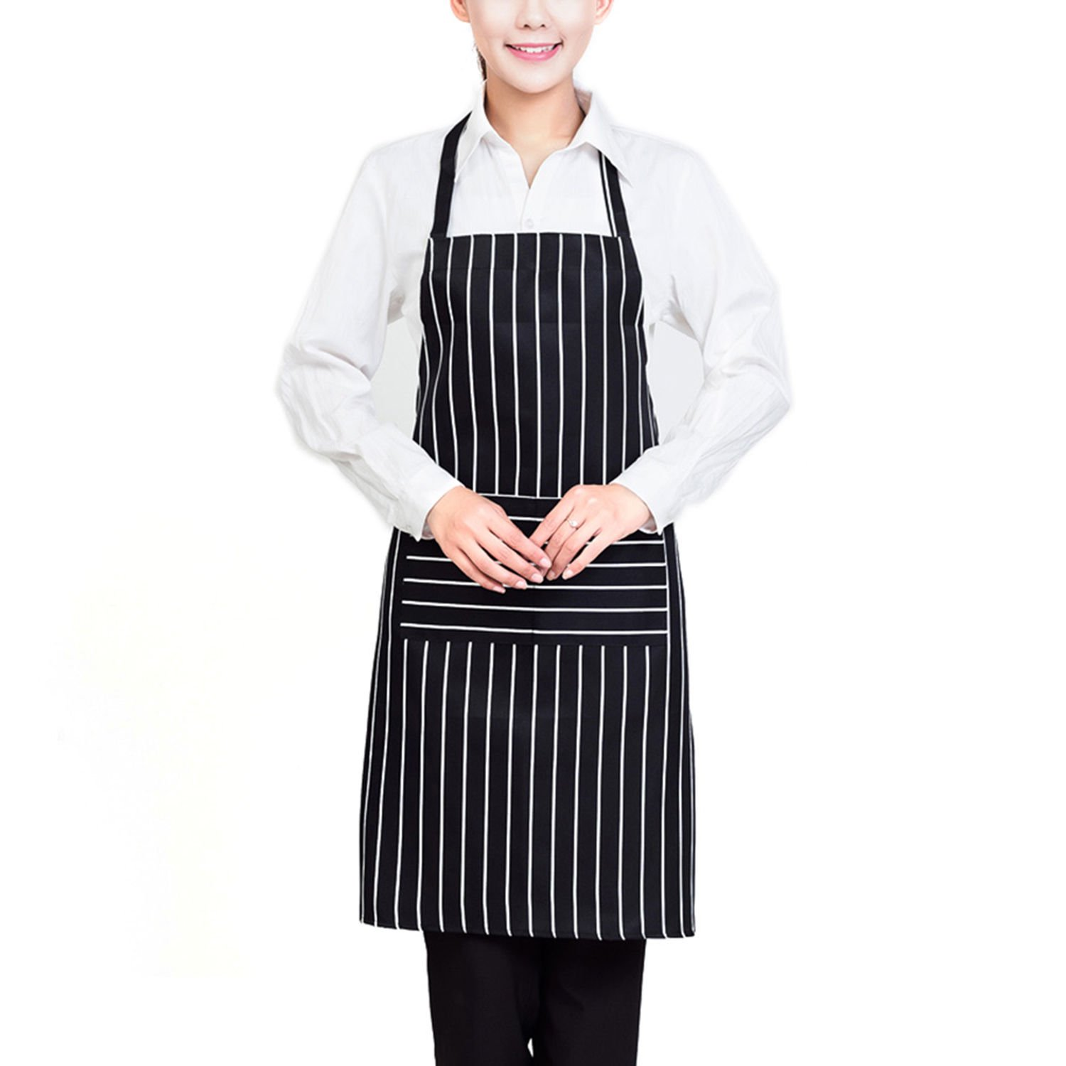 Chosen Men Women Solid Cooking Kitchen Restaurant Bib Apron Dress with Pocket - Black