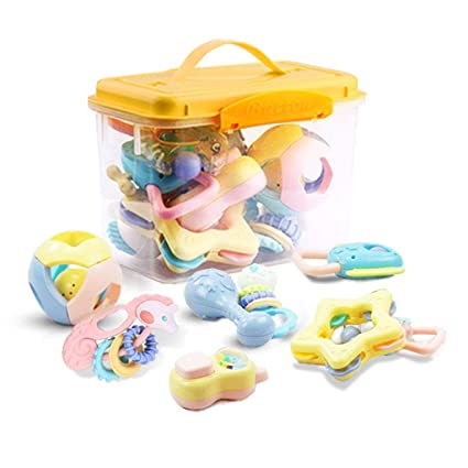 Amazon Com Siyushop Rattle Tooth Glue Set Grab Toy Chewing Ring