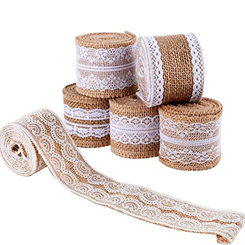 LEOBRO 6Pcs Natural Burlap Lace Craft Ribbon Roll, 12 Yards DIY Handmade Crafts Lace Wedding Favor Decoration Shipping by FBA