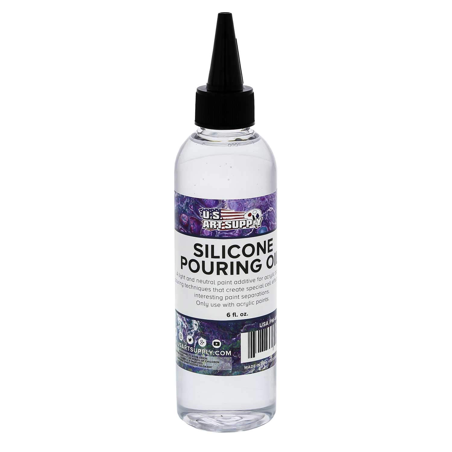 U.S. Art Supply Silicone Pouring Oil - 6-Ounce - 100% Silicone for Dramatic Cell Creation in Acrylic Paint