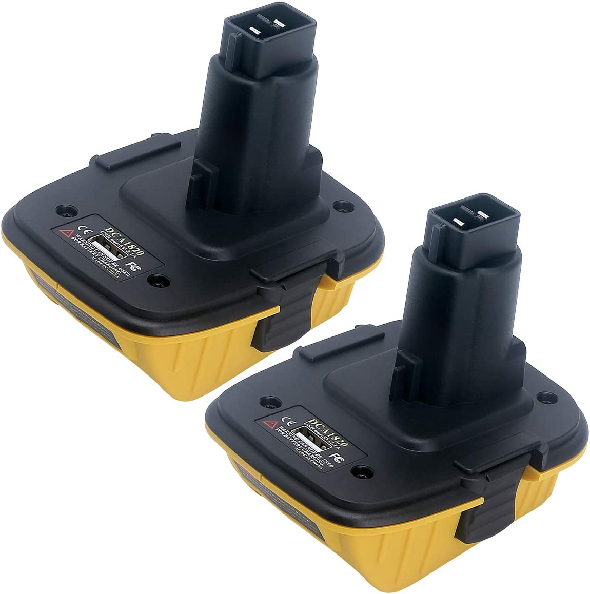 Biswaye 2-Pack Replacement 20V Dewalt Battery Adapter DCA1820 for Dewalt 18V Tools, Convert Dewalt 20V Battery DCB205 DCB201 DCB609 for Dewalt 18V Battery DC9096 DC9098 DW9096 DW9099 with USB Port