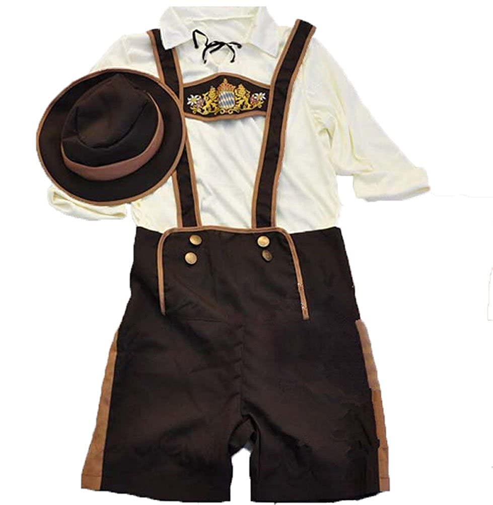tianxinxishop Boys Oktoberfest Outfits Bavarian Lederhosen Traditional Costume German Beer Festival Shorts with Shirt and Hat Halloween Cosplay Costume