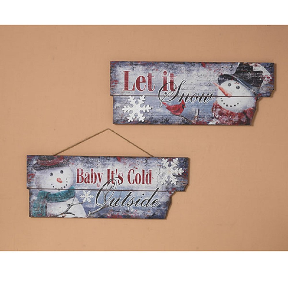 Gerson 23.75''L Holiday Wood Snowman Wall Décor, 2 Assorted.