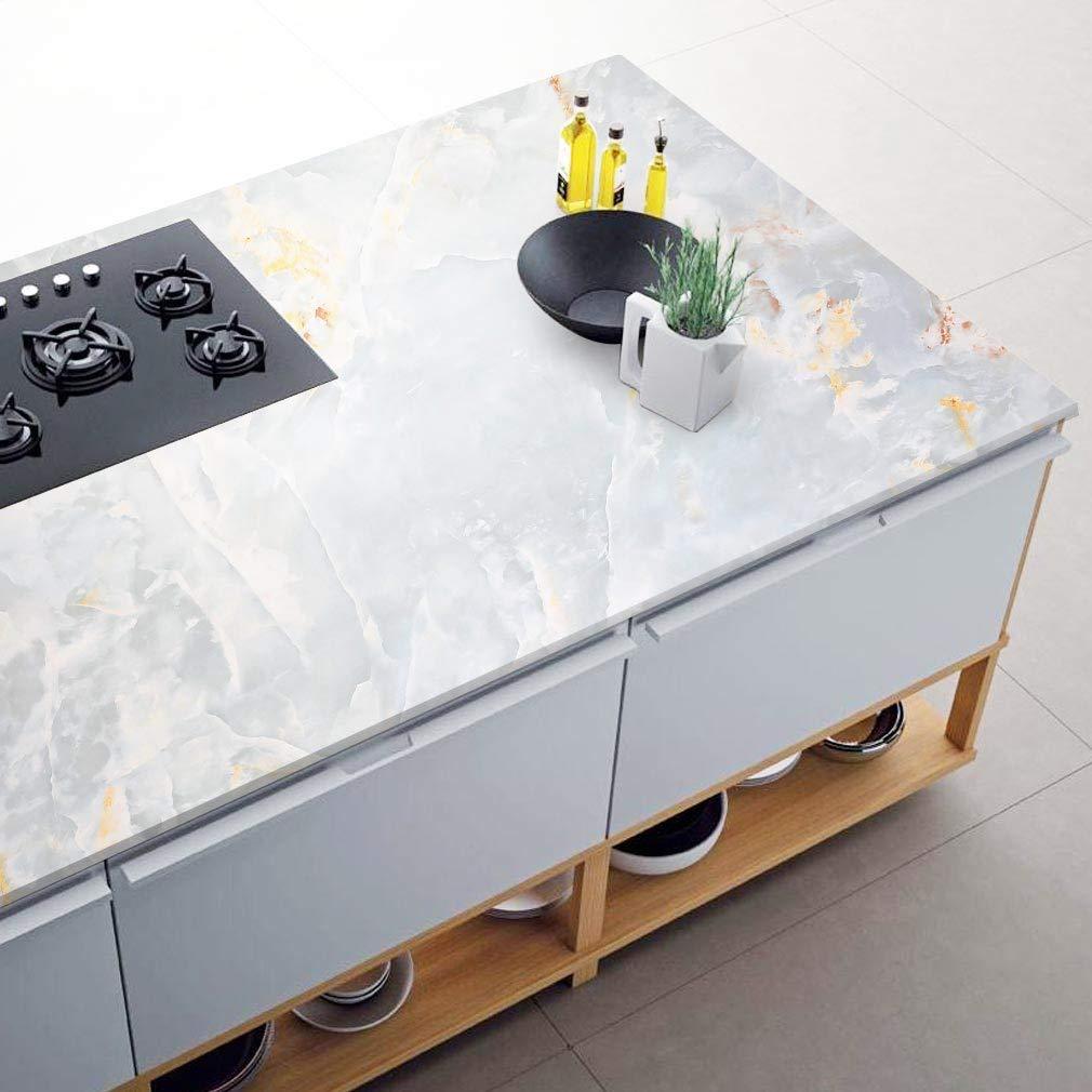 500CM /épaisse PVC Adh/ésif Film sans Bulles Autocollant Muraux Marbre Papier Peint pour Salle de Bain Cuisine Salon et etc. iKINLO Papier Peint Imperm/éable 61