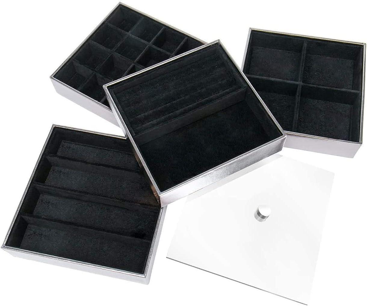 - JackCubeDesign Set mit 4 stapelbaren Lederschmuckschalen mit Acrylbezug Ohrring Halskette Armband Ringbox MK409B Silber