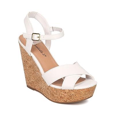 Women Faux Cork Platform Wedge Sandal - Ankle Strap Wedge - Peep Toe Sandal - HK37 By Breckelles