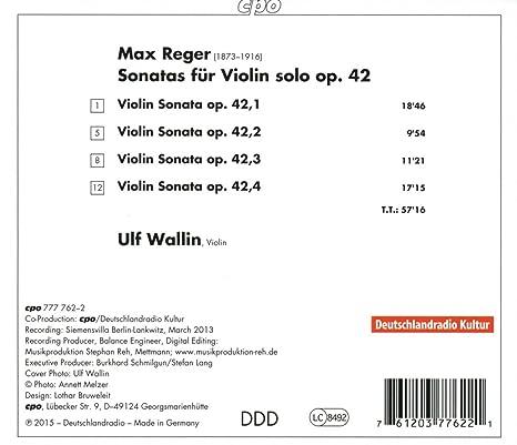 Reger: Sonatas for Violin Solo, Op  42