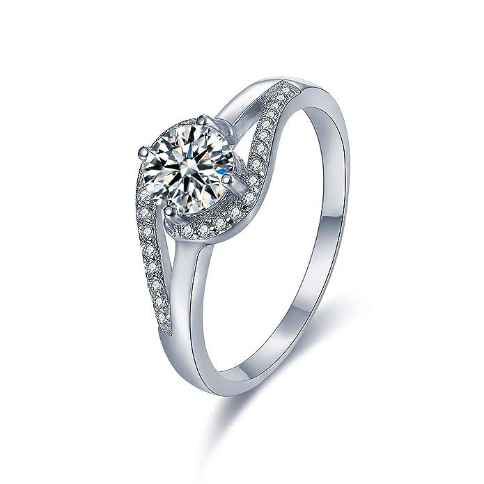Anillo de plata de ley 925 con medio cristales de acento de lujo que se entrelazan, anillos de boda y de compromiso, para mujer y niñas adolescentes, ...