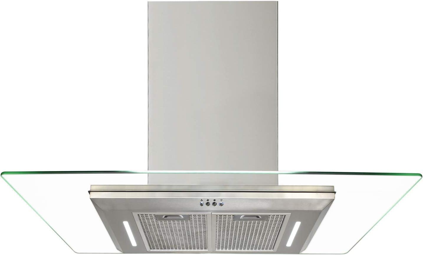 Campana extractora de 630 m³/h, campana de cocción de 70 a 90 cm, cristal plano, acero inoxidable, 2 luces delanteras de trabajo hechas de vidrio endurecido especial 90cm(2x500mm): Amazon.es: Grandes electrodomésticos