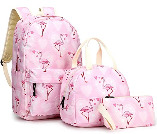 QWEIAS Flamingo Mochilas Escolares para niñas - 3 Piezas de Conjuntos de Mochilas para niños Lovely Prints - 2020 Mochilas primarias Ligeras para niños con Estuche para lápices y Bolsa de Almuerzo: Amazon.es: Hogar