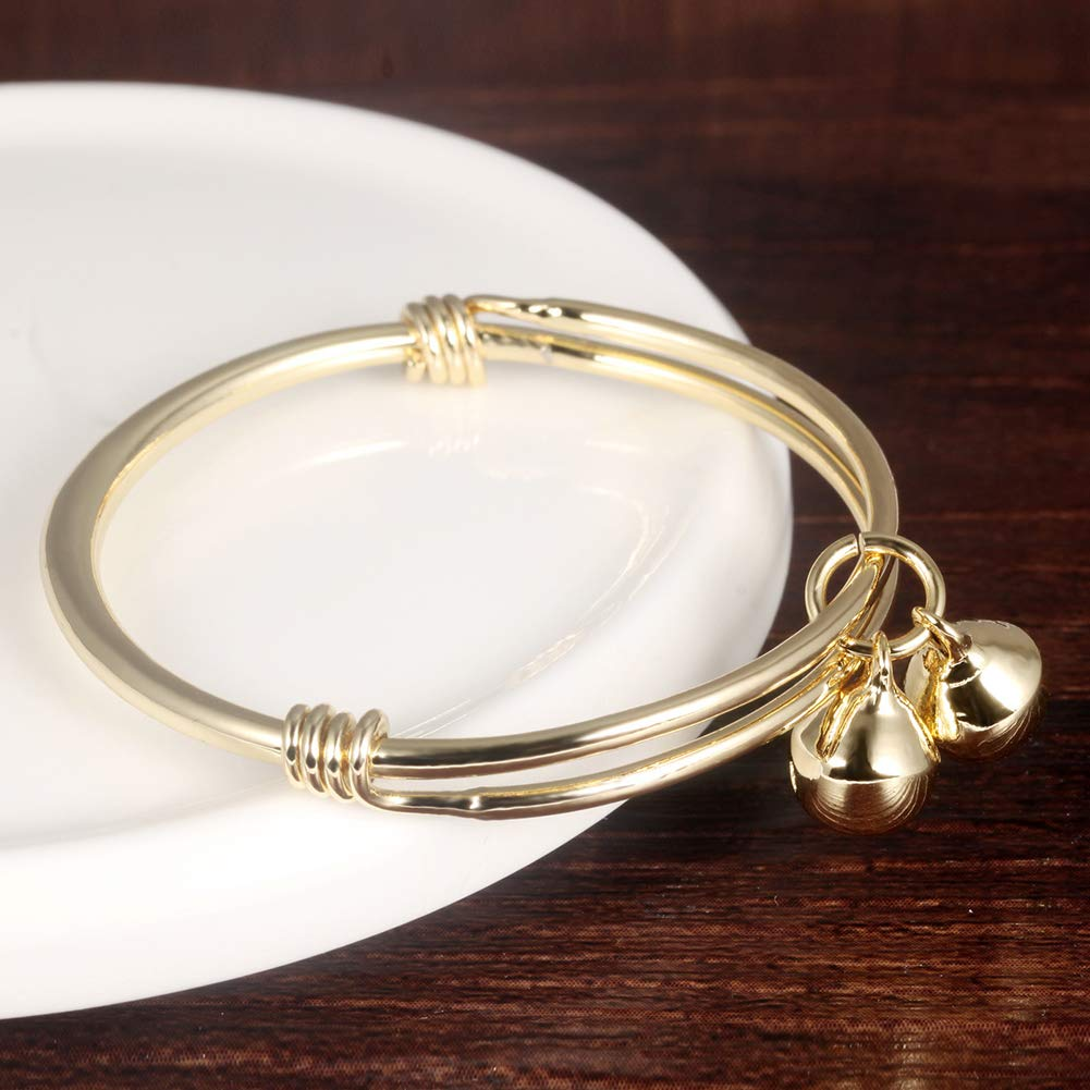 1PC Baby Gold Plated Bracelet Small Bell Charms Bracelet Bangle For Unisex Infant Cute Adjustable Jewellery 4.7-5.9