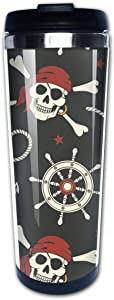 Waldeal Pirate Skull Travel Coffee Mug with Flip Lid, Crossbones Red Scarf Stainless Steel Vacuum Insulated Tumbler Cup 14 OZ, Funny Gift for Men Women Friends
