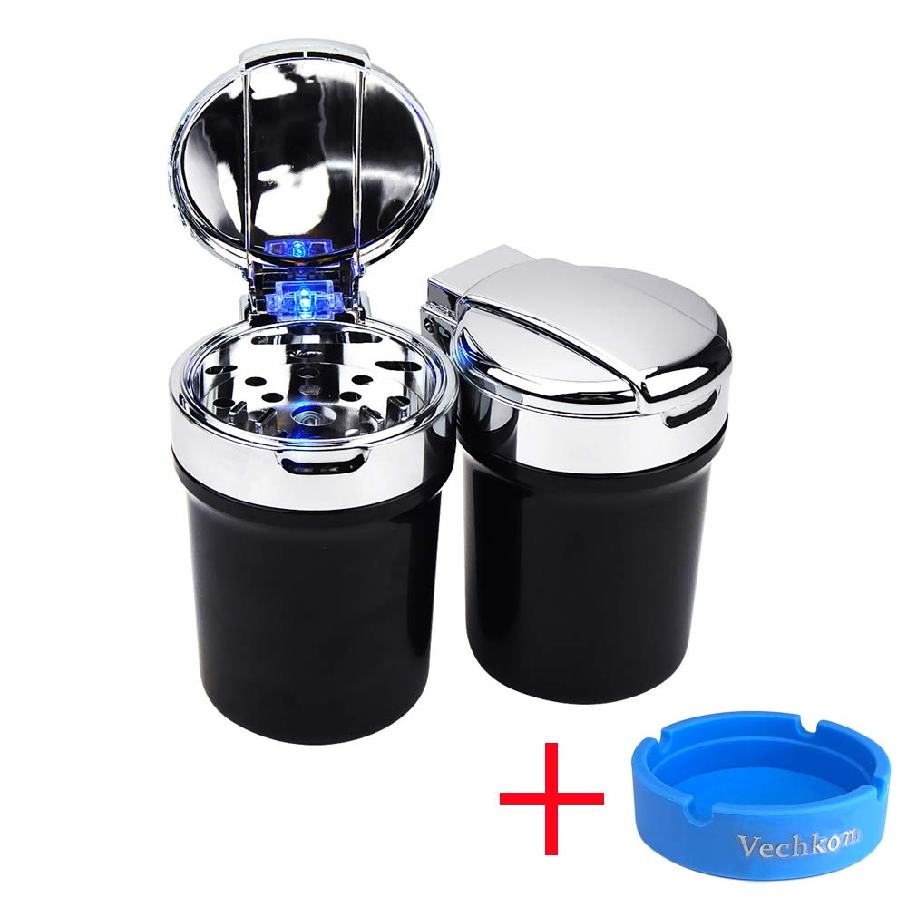 Black Car Ashtray Auto Smokeless Cylinder Ashtray with Lid and Blue LED Light Indicator Portable Detachable Self Extinguishing Ash Tray for Most Car Cup Holder Car Vehicle Truck SUVs Office Home