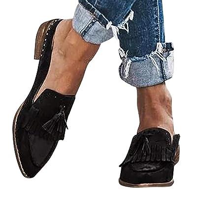Hemlock Women Low Heel Shoes Point Toe Slip On Sandals Office Lady Work Shoes Fashion Fringe Rivet Loafers: Clothing