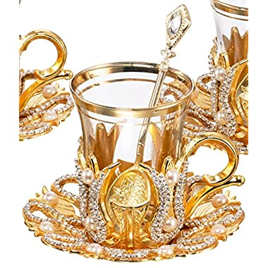 Set of 6 Turkish Style Tea Glasses with Brass Holder Saucer and Spoons Set Silver Plated 24 Pieces - Decorated Gold by BOSPHORUS