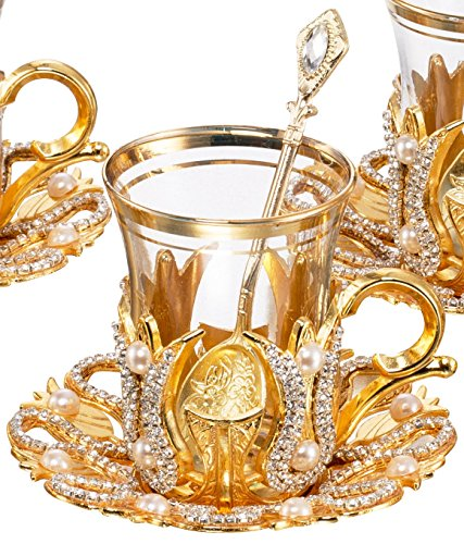 Set of 6 Turkish Style Tea Glasses with Brass Holder Saucer and Spoons Set Silver Plated 24 Pieces - Decorated Gold (Style Tea Set)