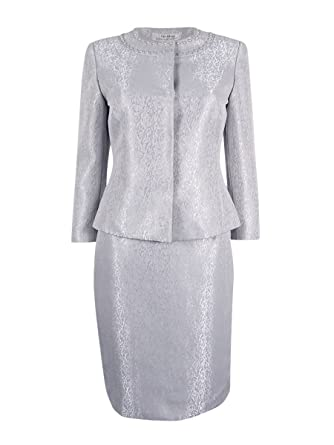 7cc63904ab20 Amazon.com: Tahari Women's Pearled-Collar Jacquard Skirt Suit (12 ...