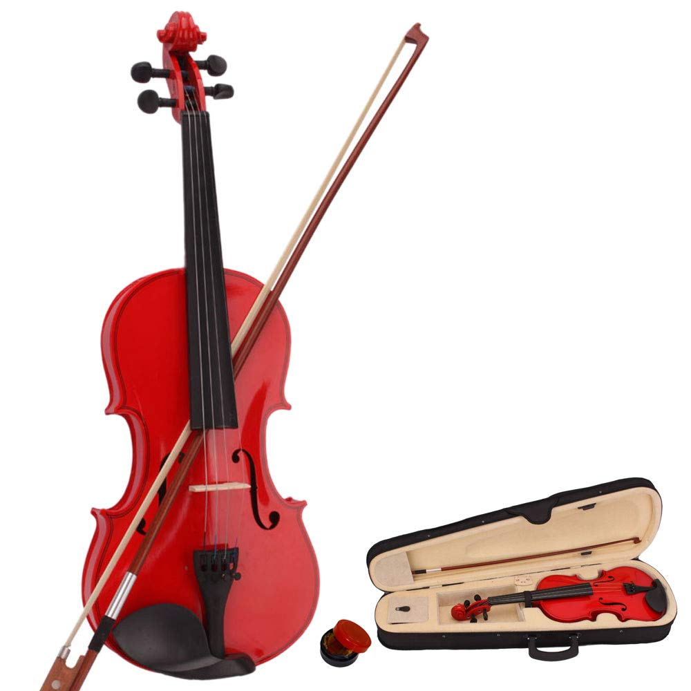 Lovinland 4/4 Acoustic Violin Red Beginner Violin Full Size with Case Bow Rosin