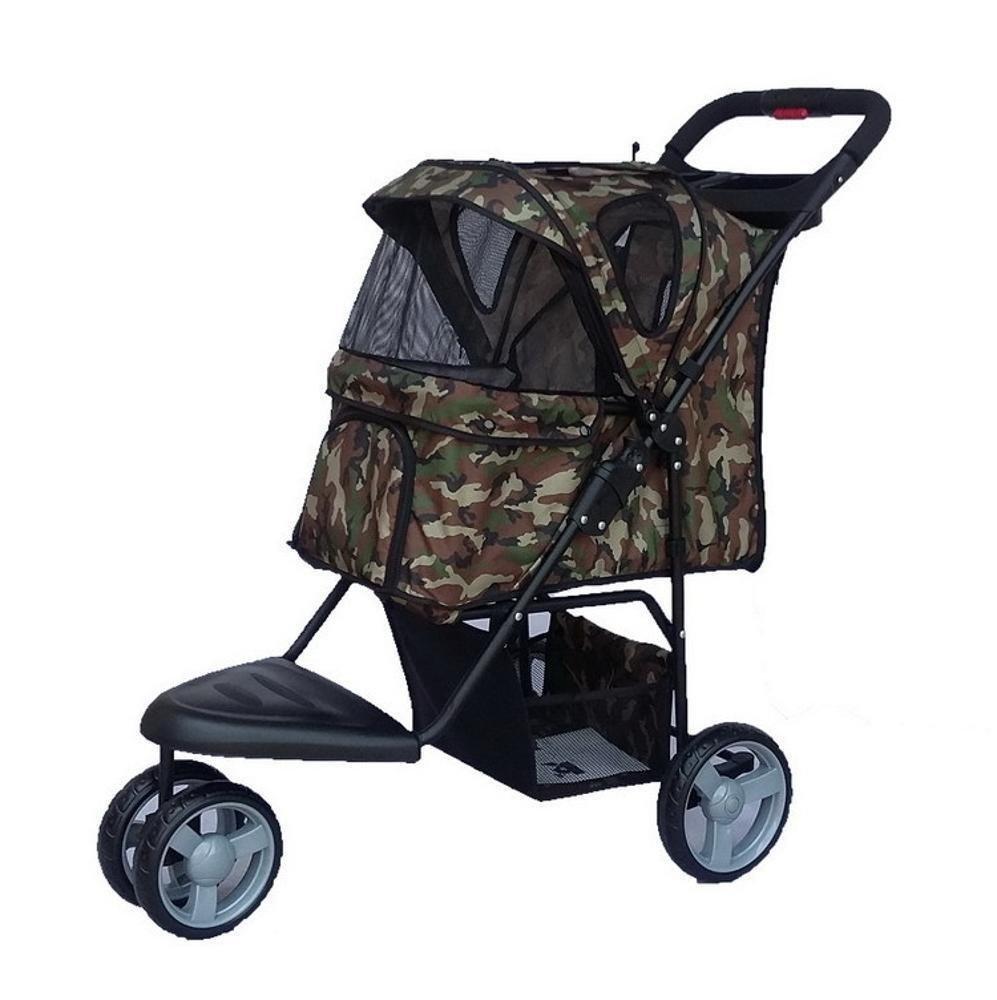 B Daeou Pet StrollerOxford Cloth jogging breathable folding pet car multifunctional trolley