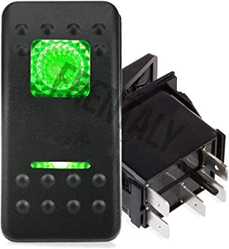 20 Amp Green Light Rocker Switch Kit Waterproof Boat Marine