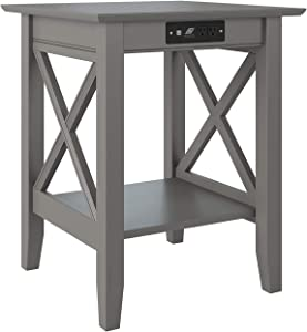 Atlantic Furniture Lexi Printer Stand with Charging Station, Grey